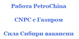 вакансии CNPC 2016 Газпром работа вахта PetroChina 2015