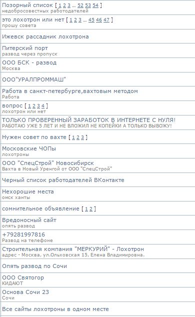 Мошеннический список фирм по вахте в РФ