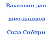Новые рабочие места для школьников вахтой Сила Сибири